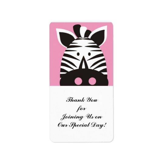 cute zebra on pink label