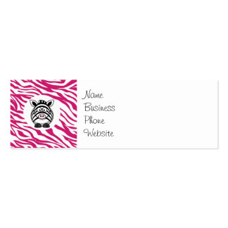 Cute Zebra on Pink Zebra Animal Print Zoo Gifts Pack Of Skinny Business Cards