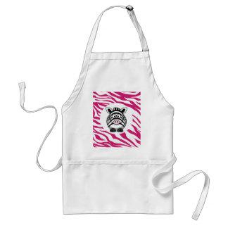Cute Zebra on Pink Zebra Animal Print Zoo Gifts Standard Apron