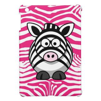 Cute zebra on pink zebra stripes iPad mini cover