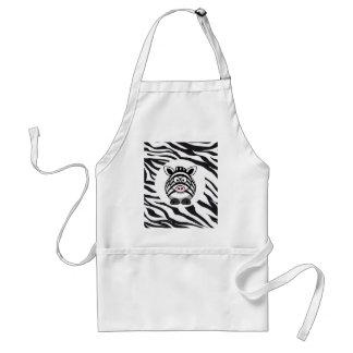Cute Zebra on Zebra Print Zoo Animals Patterns Apron