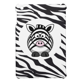 Cute Zebra on Zebra Print Zoo Animals Patterns Cover For The iPad Mini