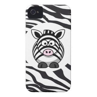 Cute Zebra on Zebra Print Zoo Animals Patterns iPhone 4 Case