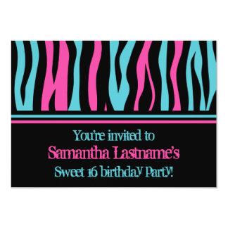 Cute zebra personalized sweet 16 birthday party 13 cm x 18 cm invitation card