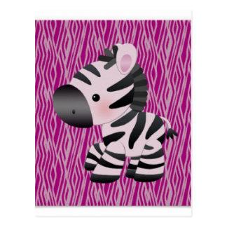 cute_zebra_pink_animal_print_ postcard