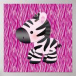 Cute Zebra & Pink Animal Print Poster