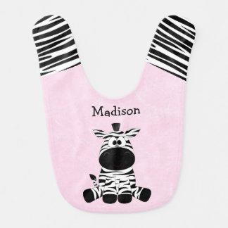 Cute Zebra Pink Bib with Funny Zebra Stripes