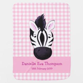 Cute zebra pink custom name birth date blanket pramblankets