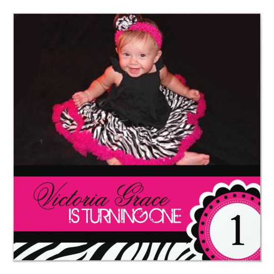 Cute Zebra Print Birthday Party Invitation