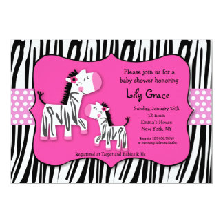 Cute Zebra Prints Stripes Baby Shower Invitaitons Card