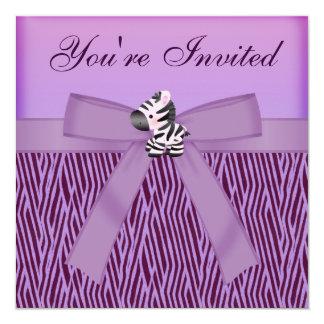 Cute Zebra & Purple Animal Print Party Card