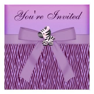 Cute Zebra & Purple Animal Print Party Invitation