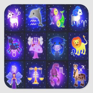Cute Zodiac Characters Square Sticker