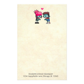 Cute Zombie Couple in Love Illustration Personalised Stationery