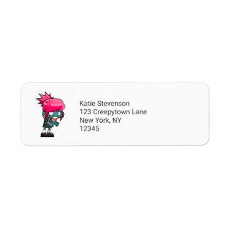 Cute Zombie Girl Illustration Return Address Label