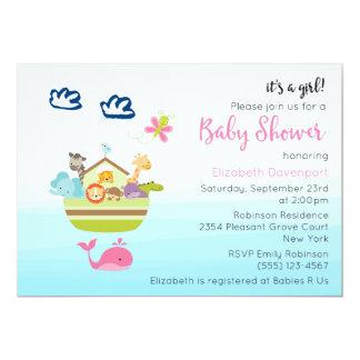 Cute Zoo Animal Ark Baby Girl Shower Card
