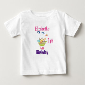 Cute Zoo Animal Ark First Birthday Baby T-Shirt
