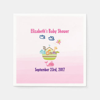 Cute Zoo Animal Ark Pink Baby Shower Paper Napkins