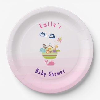 Cute Zoo Animal Ark Pink Baby Shower Paper Plate