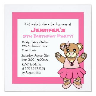 CuteBallet Teddy Bear Theme Party Card