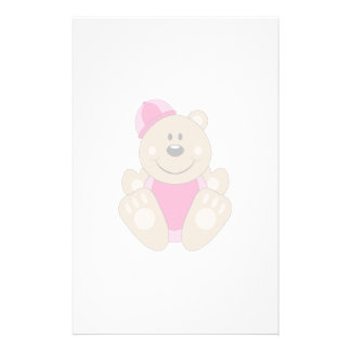 Cutelyn Baby Girl Snow Bear Personalized Stationery