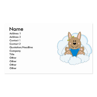 Cutelyn Brown Baby Boy Angel Bunny On Clouds Business Card Template