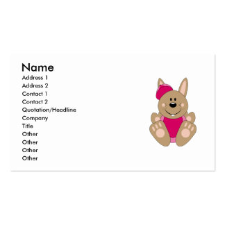 Cutelyn Brown Baby Girl Baseball Bunny Business Cards