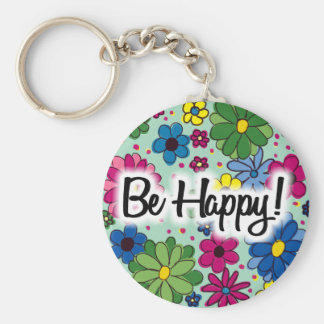 CuteMint Green Colorful Floral Be Happy Keychain