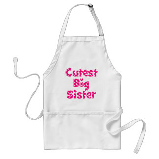 cutest big sister pink polka dot standard apron