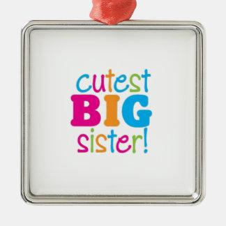 CUTEST BIG SISTER Silver-Colored SQUARE DECORATION