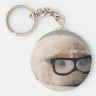 Cutest guinea pig wearing glasses key ring