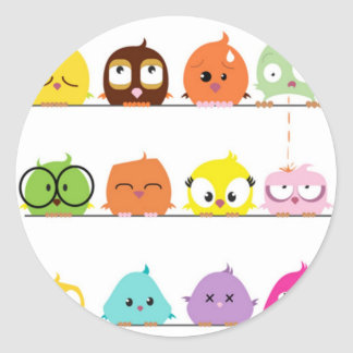 Cutest Little Birds Round Sticker