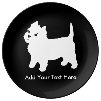 Cutest Little Westie Dog - Westhighland Terrier Porcelain Plate