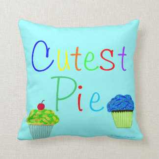 Cutest Pie Yellow & Blue Cupcakes PERSONALIZE Cushion