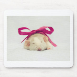 Cutest sleeping Rat with bow Mousepads