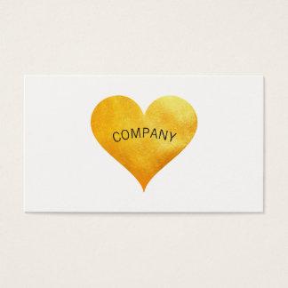 Cutesy Gold Heart Arch Text Business Card