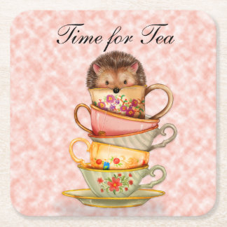 CuteTime for Tea Hedgehog on Colorful Teacups Square Paper Coaster