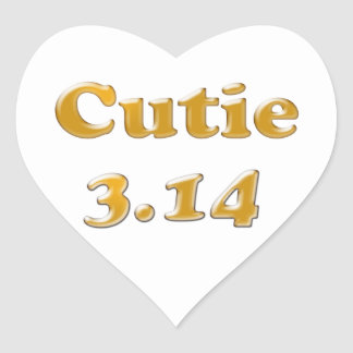 Cutie 3.14 Pi Day Heart Sticker
