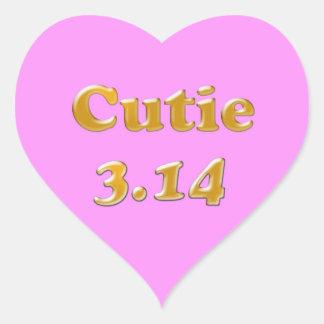 Cutie 3.14 Pi Day Pink Heart Sticker