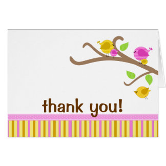 Cutie Birds - Pink Thank You Note Card