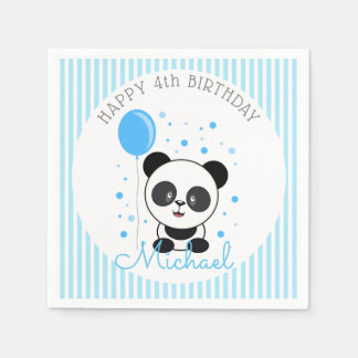 Cutie Blue Panda Birthday Disposable Napkins