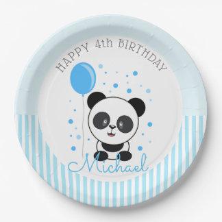 Cutie Blue Panda Birthday Paper Plate
