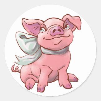 Cutie Bow Piglet Circle Sticker