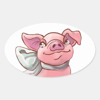 Cutie Bow Piglet Oval Sticker