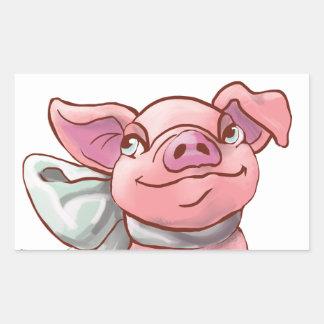Cutie Bow Piglet Rectangle Sticker