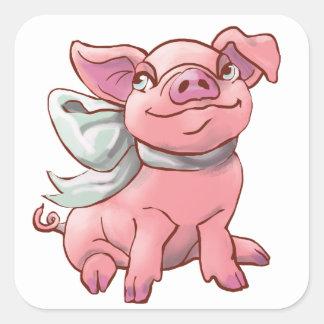 Cutie Bow Piglet Square Sticker
