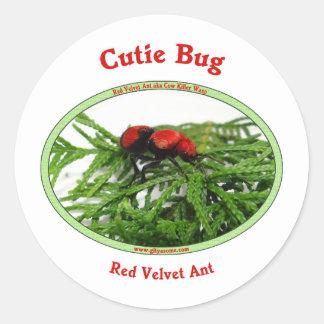 Cutie Bug Red Velvet Ant Wasp Round Stickers