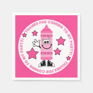 Cutie Cartoon Pink Crayon Birthday Party Paper Napkin