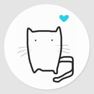 cutie cat round sticker