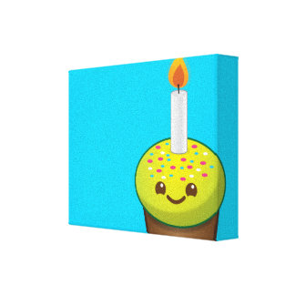 Cutie Cupcake Happy Birthday smiles Canvas Print